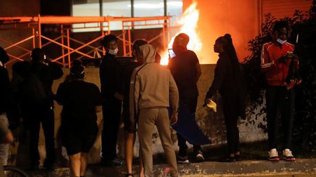 Incendie en marge d'une manifestation à Rochester (Etat de New York), le soir du 4 septembre 2020, après la diffusion de la vidéo de l'interpellation de Daniel Prude, le 23mars à Rochester.
