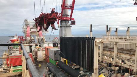 Un navire abritant des matériaux de construction pour le gazoduc Nord Stream 2 (image d'illustration)