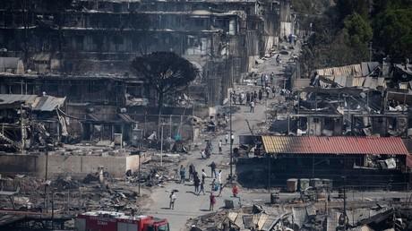 Ravages causés par l'incendie survenu dans le camp de Moria sur l'île de Lesbos, Grèce, le 9 septembre 2020.