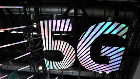 Le signe de la 5G, à la foire internationale du commerce des services de la Chine 2020 à Pékin.