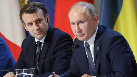 Emmanuel Macron et Vladimir Poutine, le 9 décembre 2019, à Paris (image d'illustration).