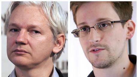 Julian Assange, le 7 juin 2013 à Londres et une capture d'image, le 6 juin 2013 à Hong Kong de l'ancien agent américain de la sécurité nationale Agence, Edward Snowden.