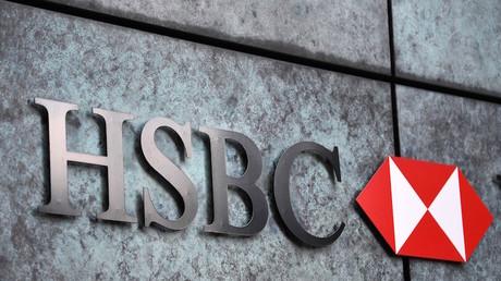 Un logo HSBC sur la façade d'une succursale de la banque à Londres le 3 août 2020 (image d'illustration).