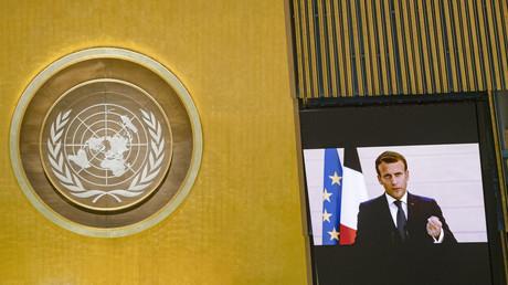 Emmanuel Macron s'exprime lors de la 75e session de l'Assemblée générale des Nations unies.