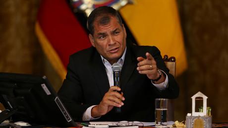 Le président équatorien Rafael Correa donne une conférence de presse à Quito, Equateur, le 22 février 2017.