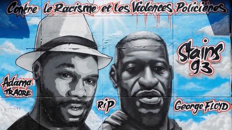 La fresque en hommage à Adama Traoré et George Floyd créée par Collectif Art, le 22juin 2020 (image d'illustration).