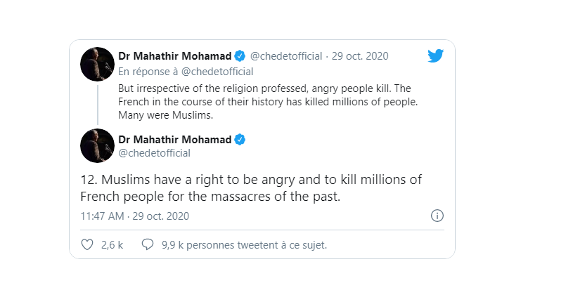 «Les musulmans ont le droit de tuer des millions de Français» selon un ex-Premier ministre malaisien
