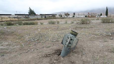 Les restes d'une roquette dans la ville d'Ivanyan, dans le Haut-Karabagh, le 1er octobre 2020 (image d'illustration)