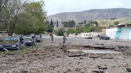 Martakert (Haut-Karabargh), frappé selon le gouvernement arménien par des raids aériens azerbaïdjanais ; photo diffusée le 30 septembre 2020 par le gouvernement arménien (image d'illustration).