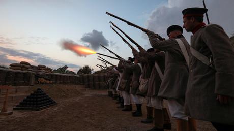 Une reconstitution historique de la bataille de Sébastopol, pendant la guerre de Crimée (1853-1856), le 5 septembre 2020, à Sébastopol (image d'illustration).