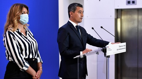 Marlène Schiappa et Gérald Darmanin à la DGSI le 31 août, Levallois (image d'illustration).