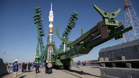 La fusée Soyouz qui a transporté l'astronaute Kathleen Rubins et les cosmonautes  Sergueï Ryjikov et Sergueï Koud-Svertchkov jusqu'à la Station spatiale internationale.