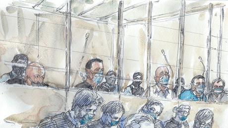 Croquis d'audience réalisé au tribunal de Paris lors du premier jour du procès des attentats de 2015, le 2septembre 2020 (image d'illustration).