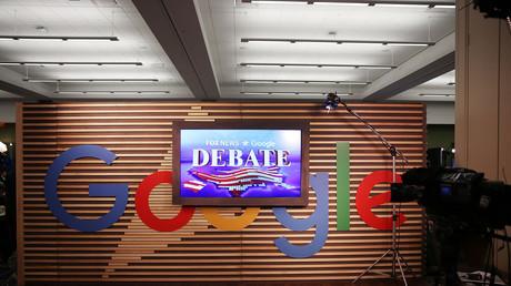 Le logo de Google dans l'Iowa Events Center, à Des Moines, le 28 janvier 2016 (image d'illustration)