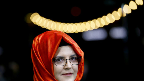 Hatice Cengiz, la fiancée de Jamal Khashoggi, avant la projection du documentaire