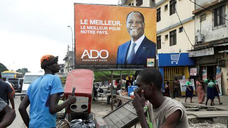 Affiche de campagne d'Alassane Ouattara, le 15 octobre 2020 à Abidjan (image d'illustration).