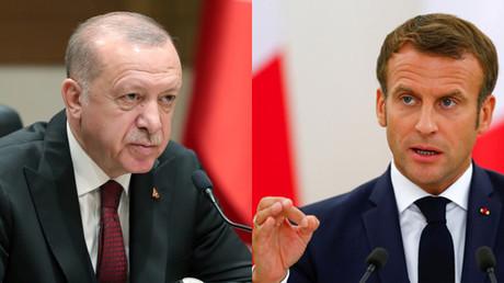 Montage d'illustration : le président turc Recep Tayyip Erdogan (g.) et son homologue français Emmanuel Macron (d.)