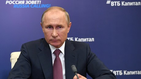 Le président de la Fédération russe Vladimir Poutine, lors du forum organisé à Moscou par la banque russe du commerce extérieur (VTB) le 29 octobre 2020.