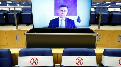 Le vice-président de la Commission européenne, Valdis Dombrovskis, lors d'une vidéoconférence à Bruxelles, le 24 septembre 2020 (illustration).