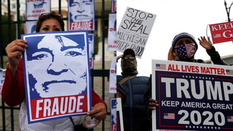 Montage : Manifestation de l'opposition à La Paz, Bolivie 9 novembre , 2019 / Manifestation de soutiens de Donald Trump, Detroit, Michigan, Etats-Unis., 5 novembre, 2020.
