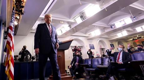 Le président américain Donald Trump lors de son allocution à la Maison Blanche le 5 novembre en fin d'après-midi.