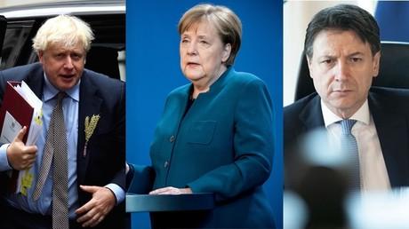 De gauche à droite : Boris Johnson, Angela Merkel et Giuseppe Conte (montage d'illustration).