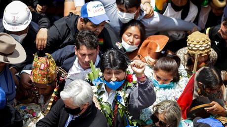 L'ancien président de la Bolivie, Evo Morales, dans la ville bolivienne de Villazon, à la frontière avec l'Argentine où il s'était exilé, le 9 novembre 2020 (image d'illustration).