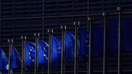 Drapeaux européens devant la Commission européenne à Bruxelles le 28 mai 2020 (image d'illustration).