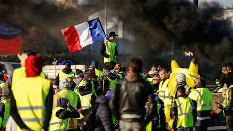 Les Gilets jaunes mobilisés a Caen (Normandie) le 18 novembre 2018