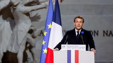 Emmanuel Macron au Panthéon à Paris pour la commémoration de la fin de la Première Guerre mondiale le 11 novembre 2020 (image d'illustration).