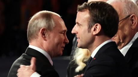 La rencontre de Vladimir Poutine et Emmanuel Macron lors du cinquième Forum mondial sur l'Holocauste à Jérusalem (Israël), le 23 janvier 2020
