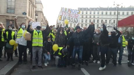 Des manifestants et gilets jaunes réunis aux abords de l'Assemblée nationale le 24 novembre.