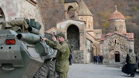 Monastère chrétien orthodoxe arménien Dadivank situé dans un des secteurs du Haut-Karabakh passant sous contrôle azerbaïdjanais