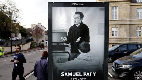 Affichage en mémoire de Samuel Paty à Conflans-Sainte-Honorine (Yvelines) le 2 novembre 2020 (image d'illustration).