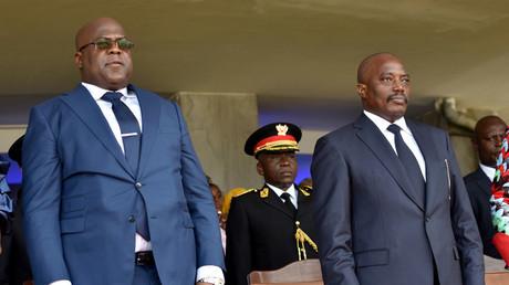 Félix Tshisekdi à gauche, Joseph Kabila à droite, lors de la cérémonie d'investiture le 24 janvier 2020 à Kinshasa (image d'illustration).