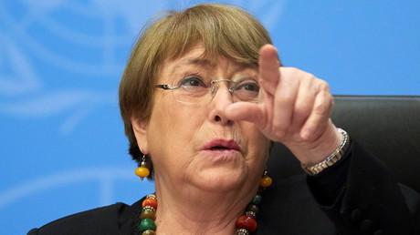 La Haut-commissaire aux droits de l'Homme de l'ONU, Michelle Bachelet, en conférence de presse à Genève le 9 décembre