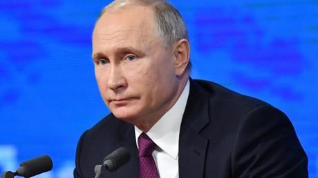 Le président russe Vladimir Poutine lors de la conférence de presse de la fin d'année 2018, au World Trade Center de Moscou (image d'illustration).