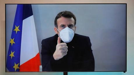 Emmanuel Macron en visioconférence de puis La Lanterne, le 17 décembre 2020 (image d'illustration)