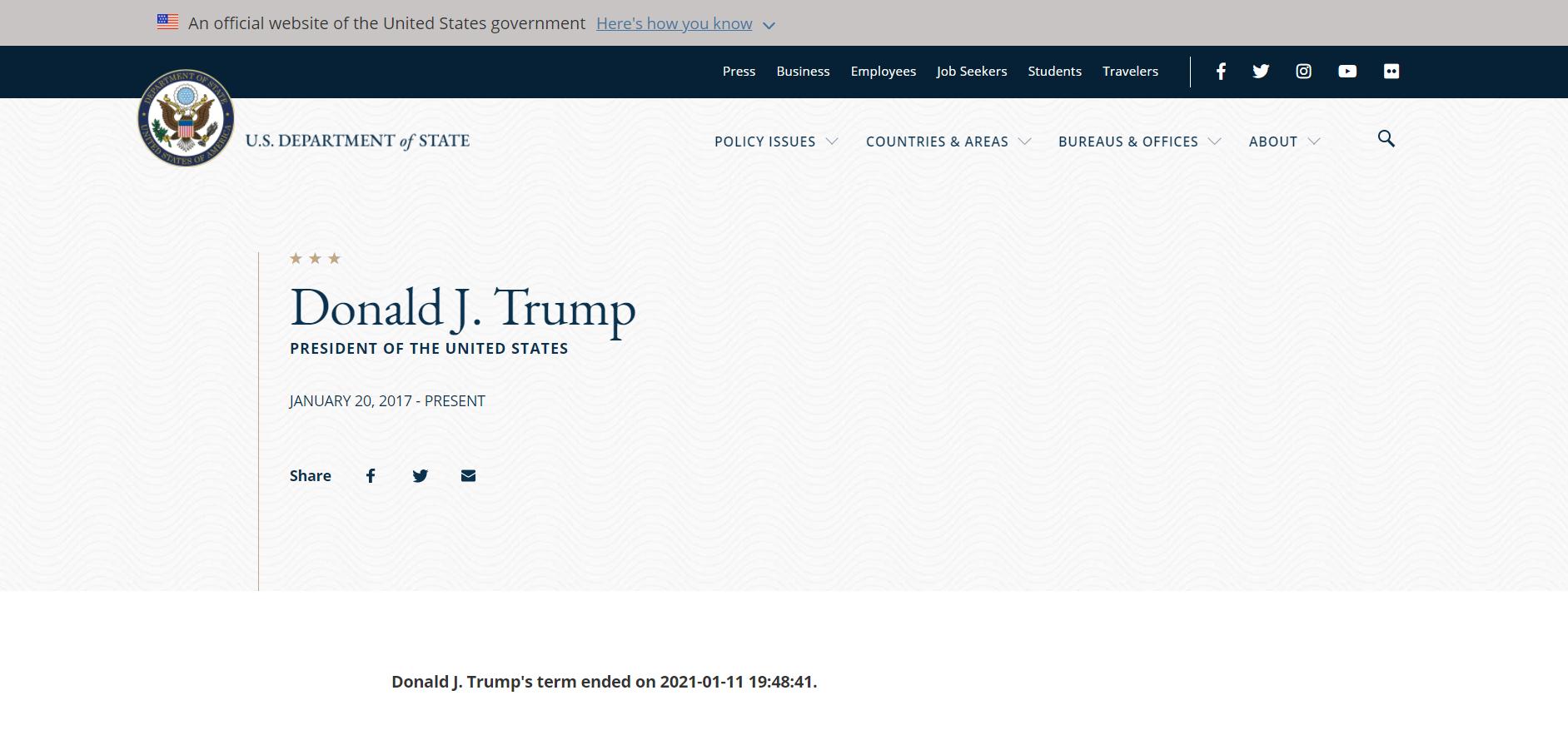 Le site du département d'Etat annonce la fin du mandat de Trump avant son terme