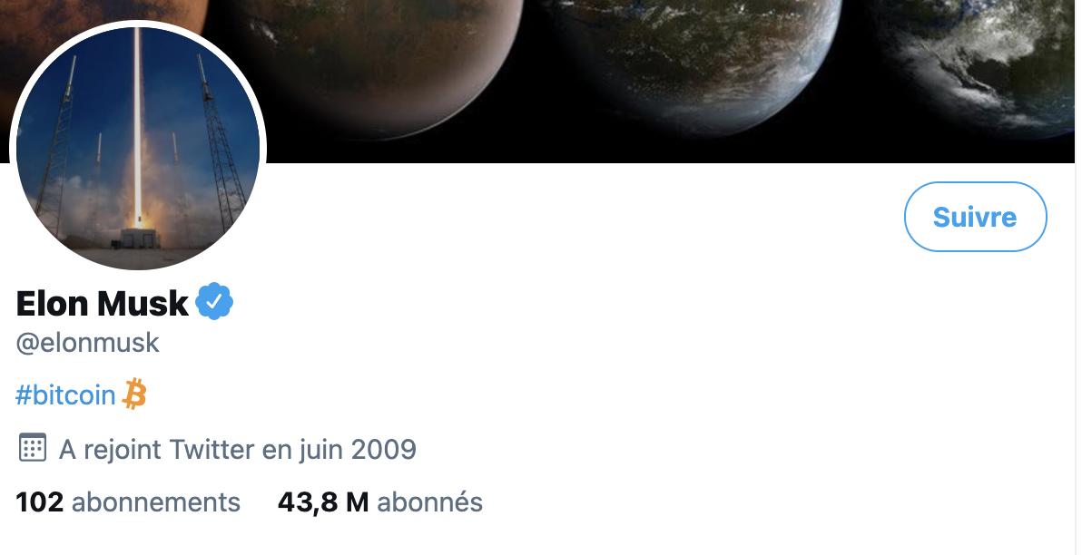 Elon Musk ajoute le hashtag #bitcoin à sa biographie Twitter, la cryptomonnaie s'envole