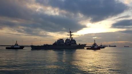 Le destroyer américain USS John S. McCain, à Singapour, le 5 octobre 2017 (image d'illustration).
