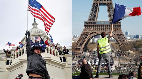 Montage : Manifestation pro-Trump à Washington, le 6 janvier 2021 / Manifestation des Gilets jaunes le 30 mars 2019 à Paris.