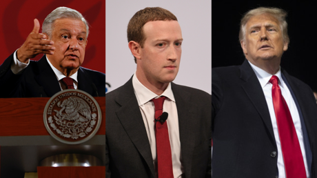 Le président mexicain Lopez Obrador, le patron de Facebook Mark Zuckerberg et les président sortant des Etats-Unis, Donald Trump.