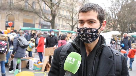 La manifestation contre le port du masque à l'école le 10 janvier 2021 à Toulouse.
