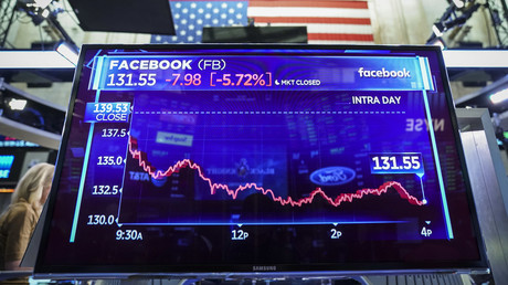 Le cours en bourse de l'action Facebook sur un écran de la bourse de New York, le 19 novembre 2018 (image d'illustration)