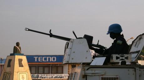 Soldat de la Minusca de l'ONU le 26 décembre 2020 à Bangui, (Centrafrique) (image d'illustration).