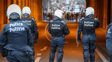 Le dispositif de sécurité est important lors de la manifestation du 13 janvier à Bruxelles.