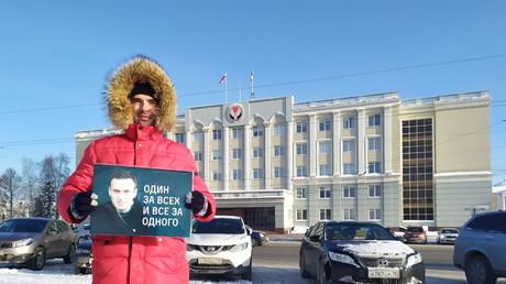 Supporter d'Alexeï Navalny à Ijevsk en Russie, le 18 janvier.