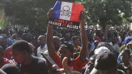 Manifestation anti-française à Bamako, Mali, le 28 octobre 2020 (image d'illustration).
