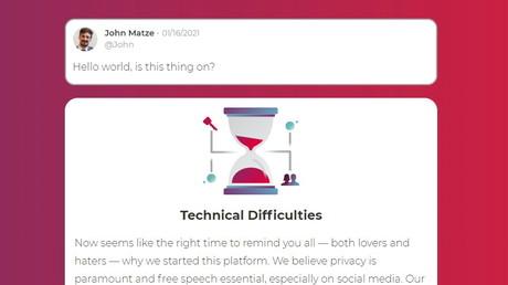 Une capture d'écran du site Parler.com sur laquelle le PDG de Parler John Matze réagi à un message annonçant des difficultés techniques sur sa plateforme, le 16 janvier 2021 (image d'illustration)